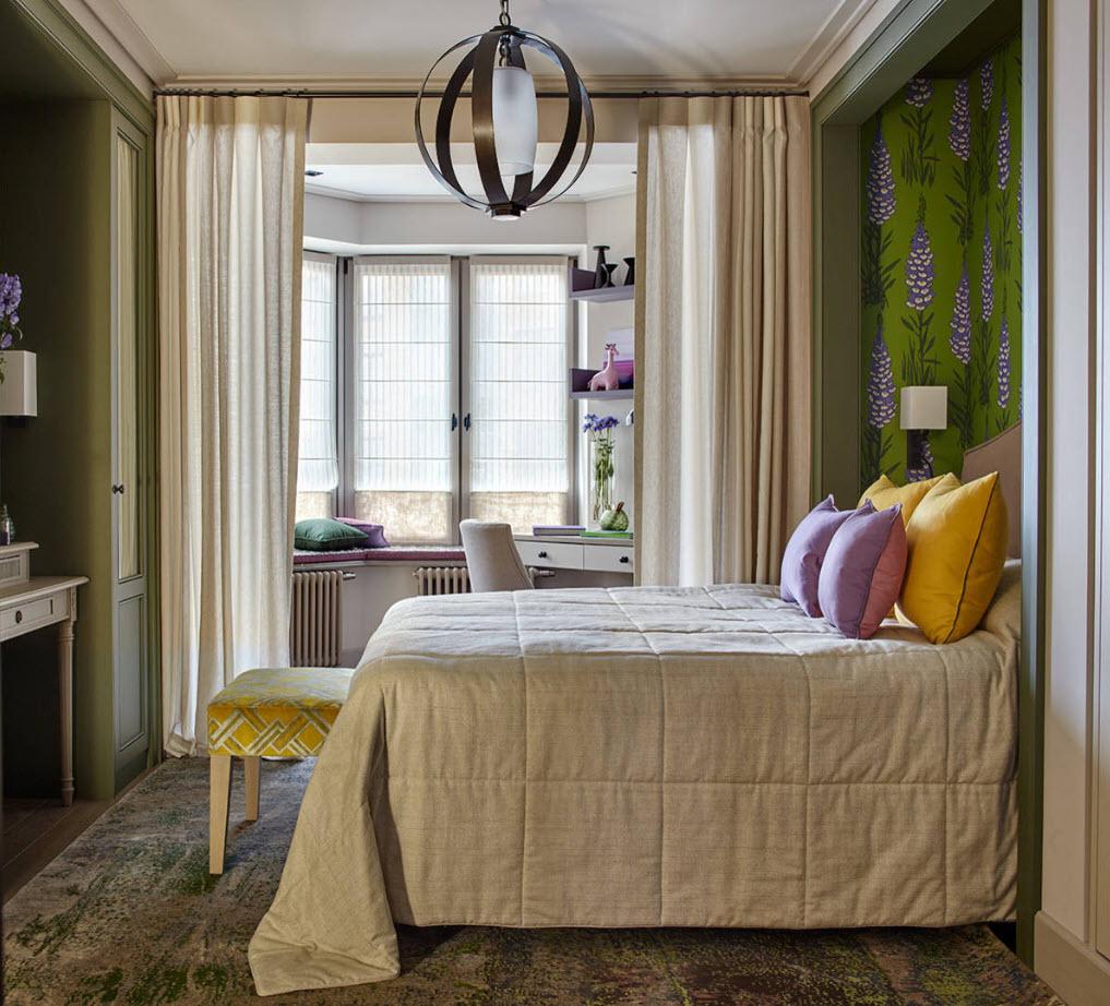 дизайн спальни с эркером фото кадр одним самых