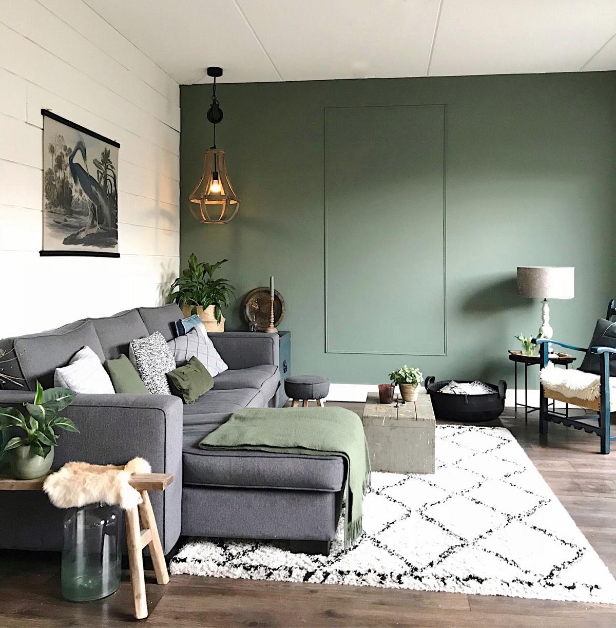 Оливкового цвета в интерьере