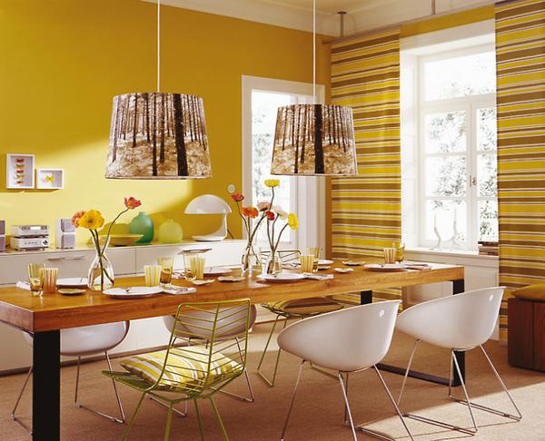 сочетание персикового и желтого цвета в интерьере фото