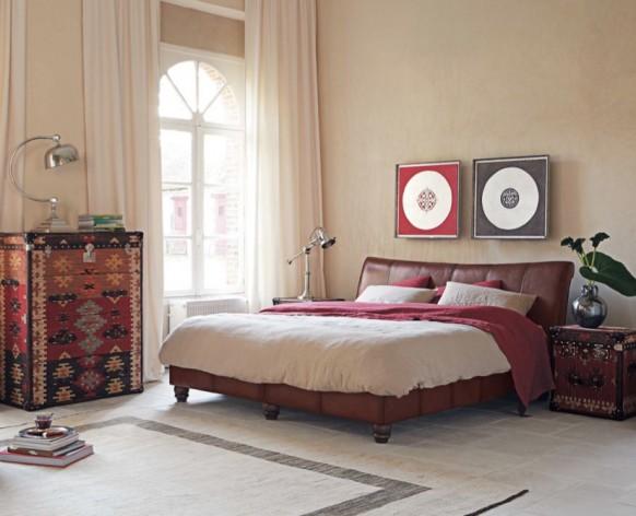современный дизайн спальни в мексиканском стиле, ковер