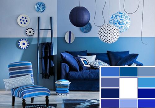Синий цвет в интерьере и его