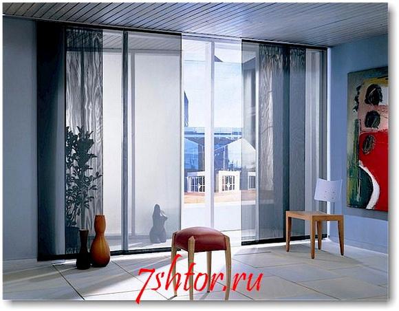 Японские шторы в интерьере фото