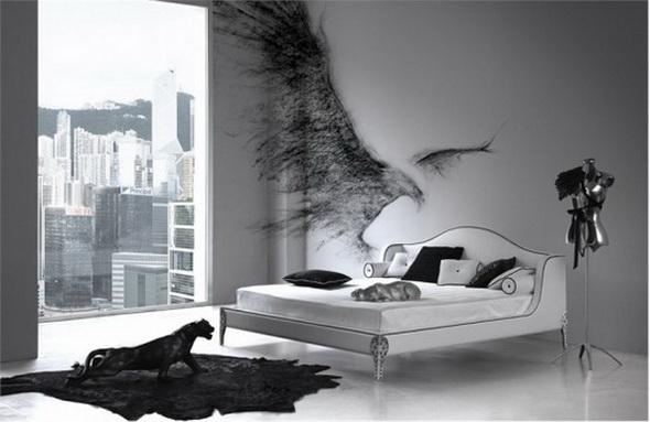 фото спальни в чёрно-белых тонах фото