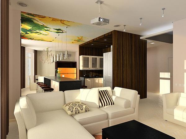 Дизайн совмещенные кухня с гостиной