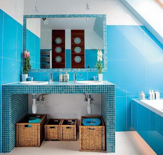 Ванная комната в сине голубых тонах
