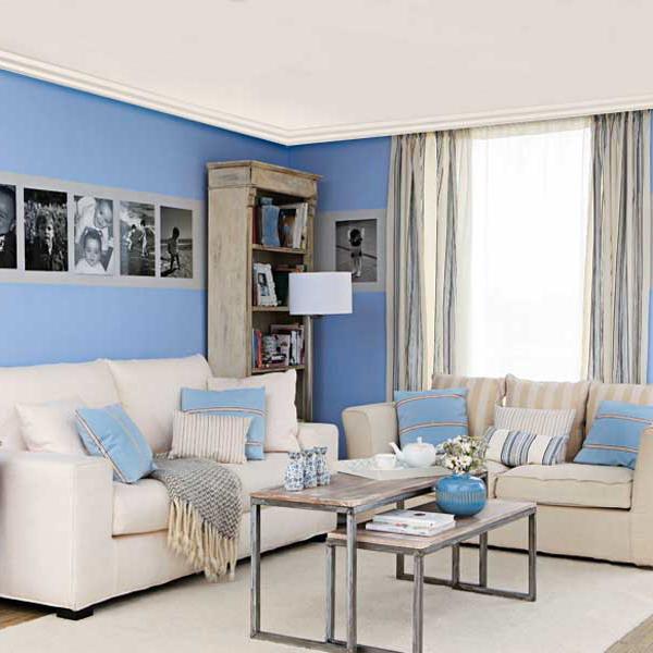 Какой цвет обоев подходит для голубого потолка