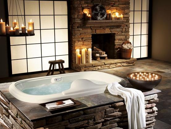Ванная комната выложенная камнями мебель для обустройства комнат
