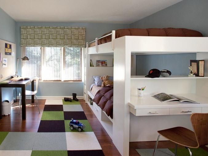 Tween boys bedroom with loft beds ideas