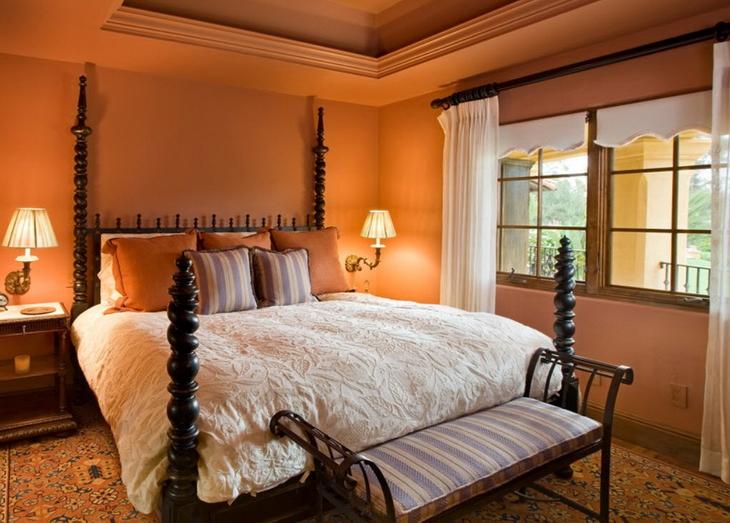 Интерьер спальни в терракотовом цвете фото