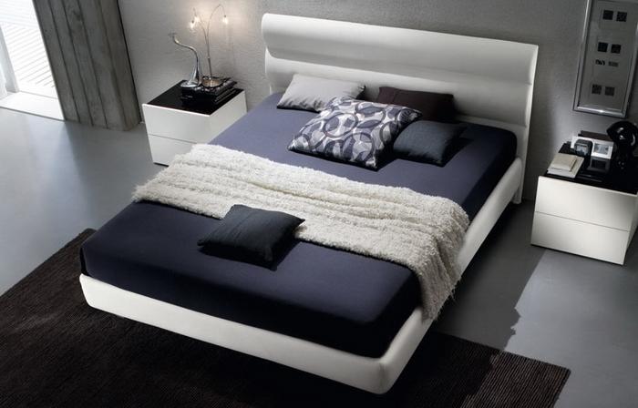 Кожаная кровать в интерьере
