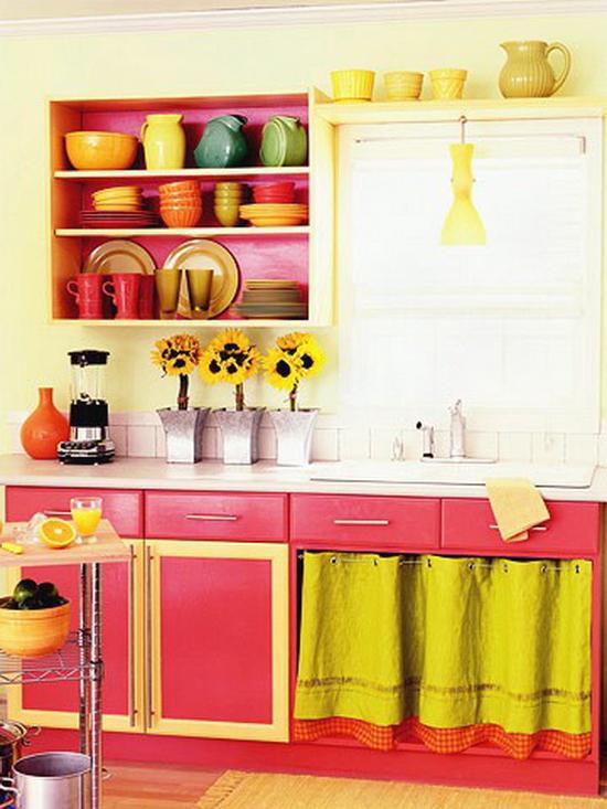 Интерьеры кухни в оранжевом