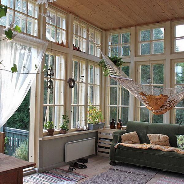 Гамак дома, на веранде, в саду