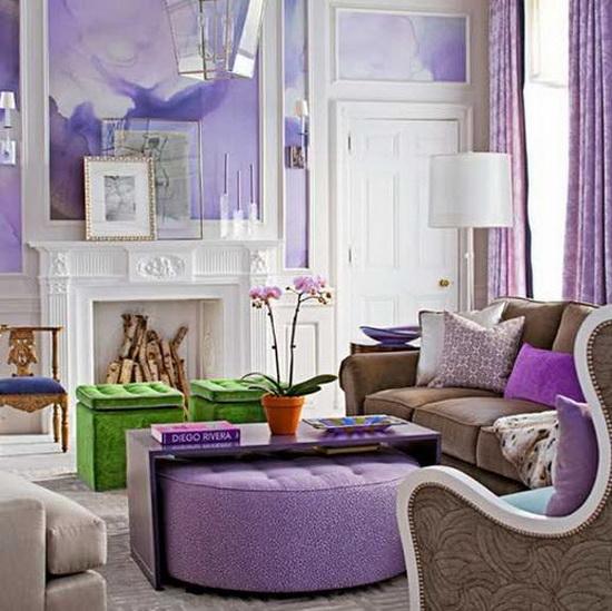 Сиреневая комната интерьер