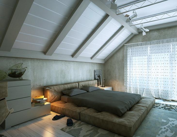 Дизайн мансарды в частном доме с низким потолком
