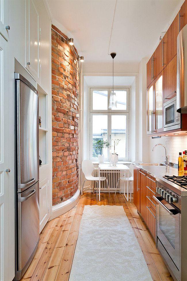 Дизайн вытянутой кухни фото