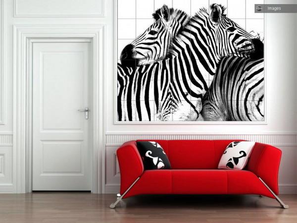 Рисунок зебра в интерьере