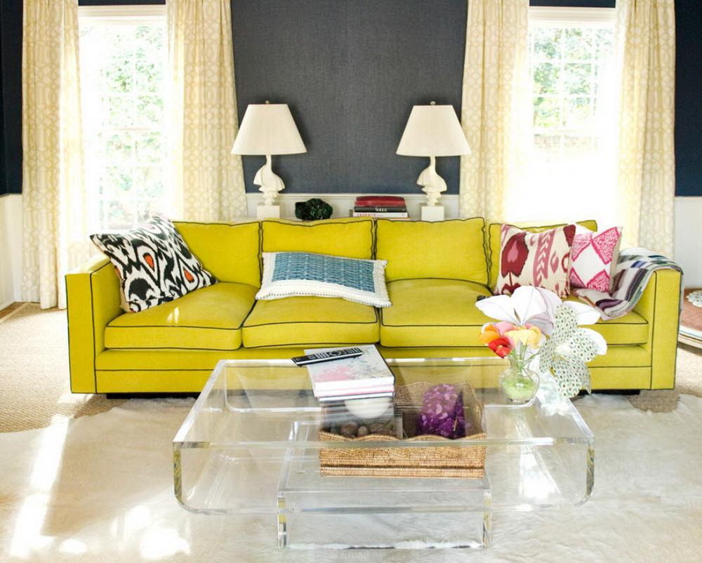 Интерьер с серым диваном фото