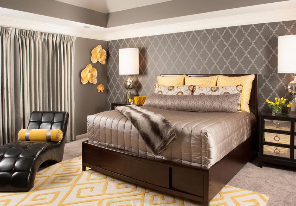Дизайн спальни с серыми обоями 308