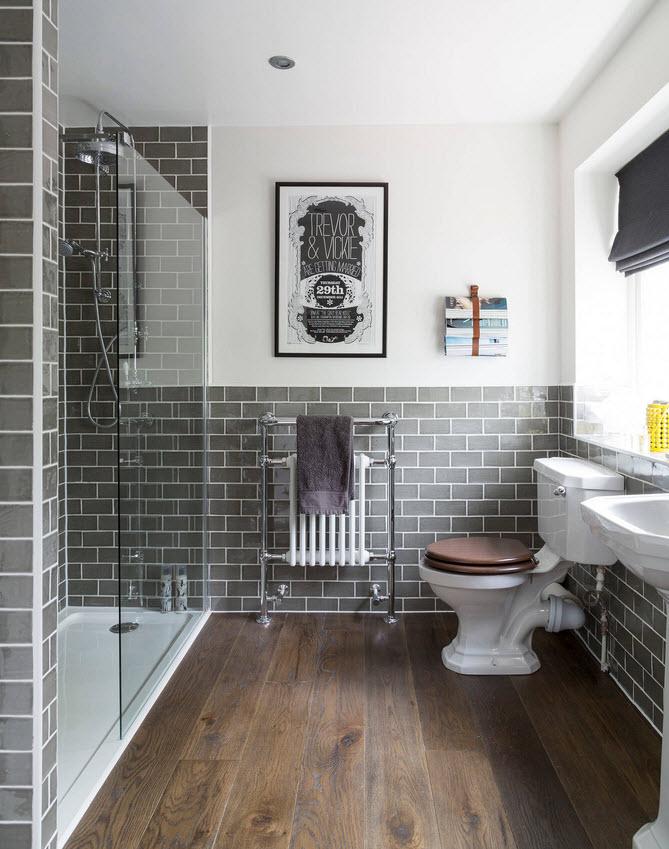 Фото темной плитки в интерьере ванной