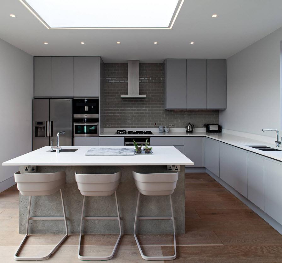 кухня в сером цвете дизайн фото