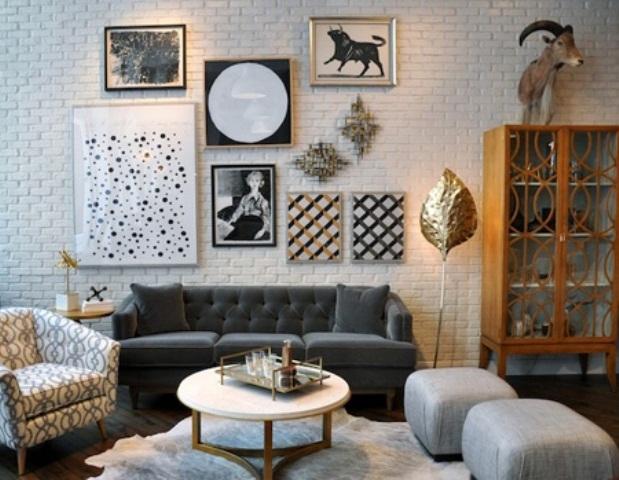 гостиная с кирпичной стеной фото