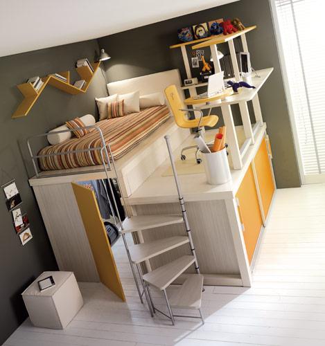 Кровать чердак с рабочей зоной