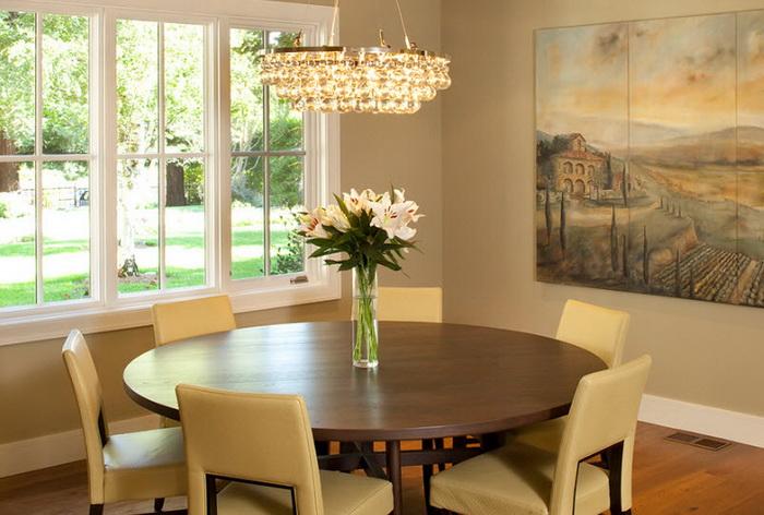 Круглые столы в интерьере кухни фото