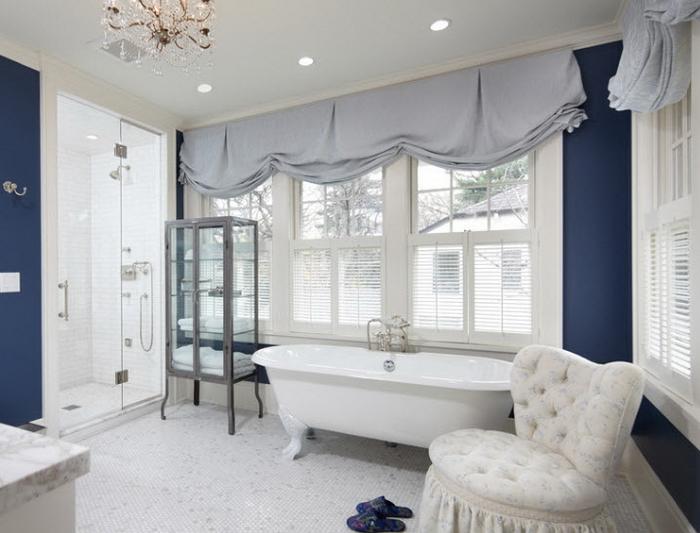 Серые шторы в спальне
