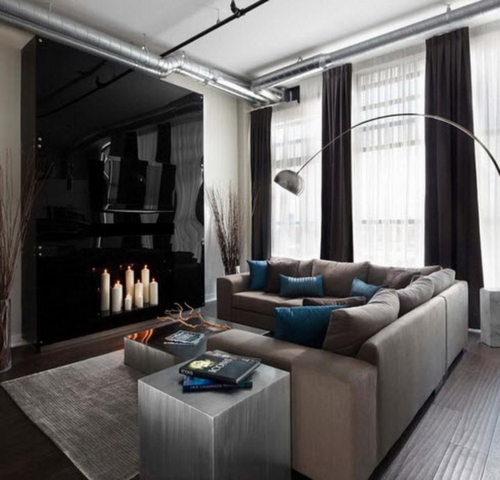 Черные шторы в интерьере