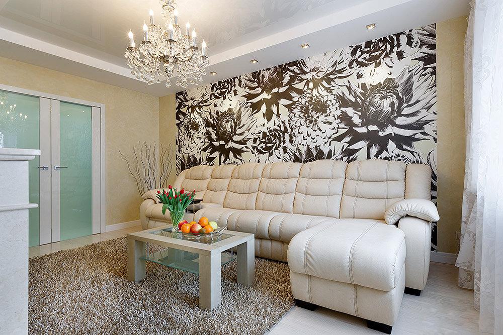 d7a086e4c В небольших комнатах стоит комбинировать однотонные обои без рисунков с  покрытиями, которые выступят ярким акцентом на одной из стен.