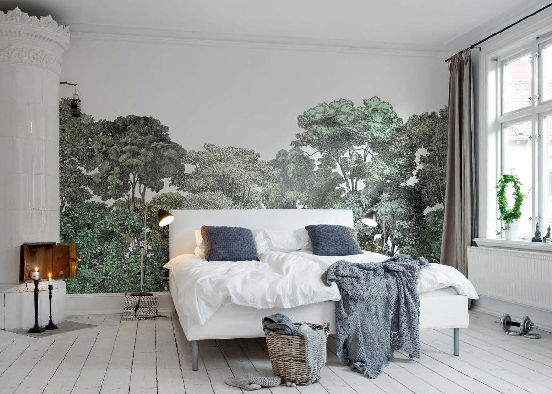 зелень фотообои для гостиной в скандинавском стиле современной