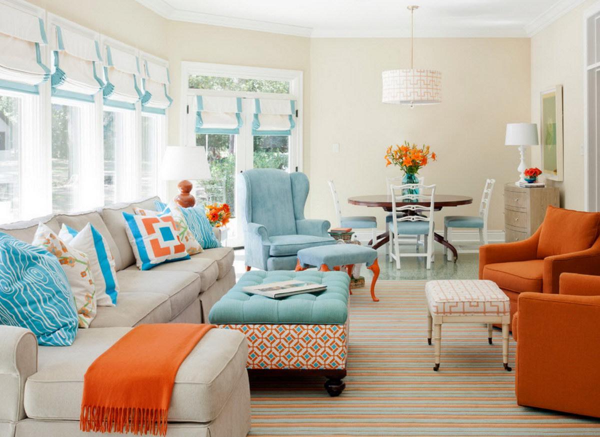 С какими цветами сочетается оранжевый в интерьере кухни фото