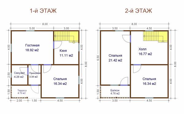 Проекты домов 8 на 8: готовые и типовые. Каталог содержит.