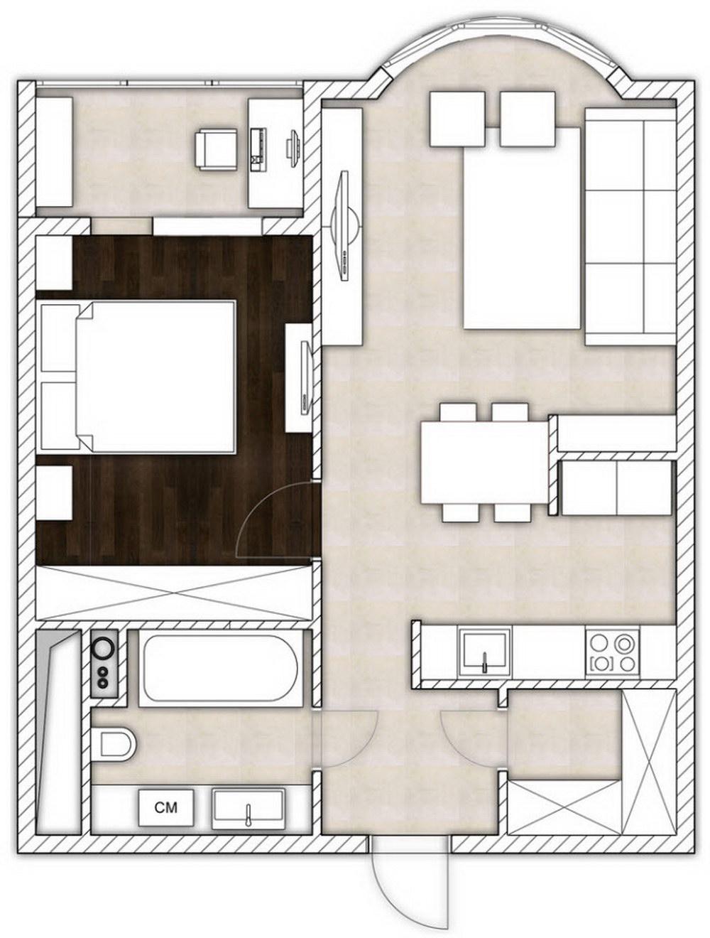 Объединение зон интерьера для экономии места в квартире - 70.