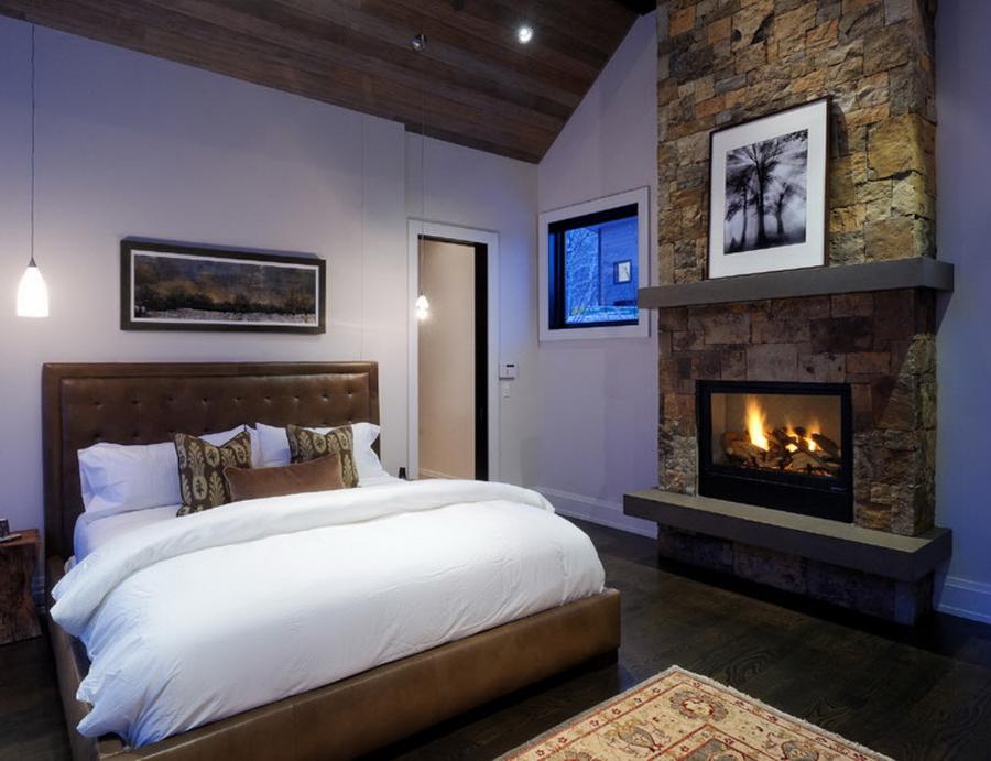 Фото интерьер спальни с камином