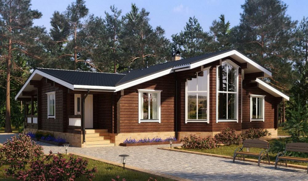 Одноэтажный брусовой дом фото