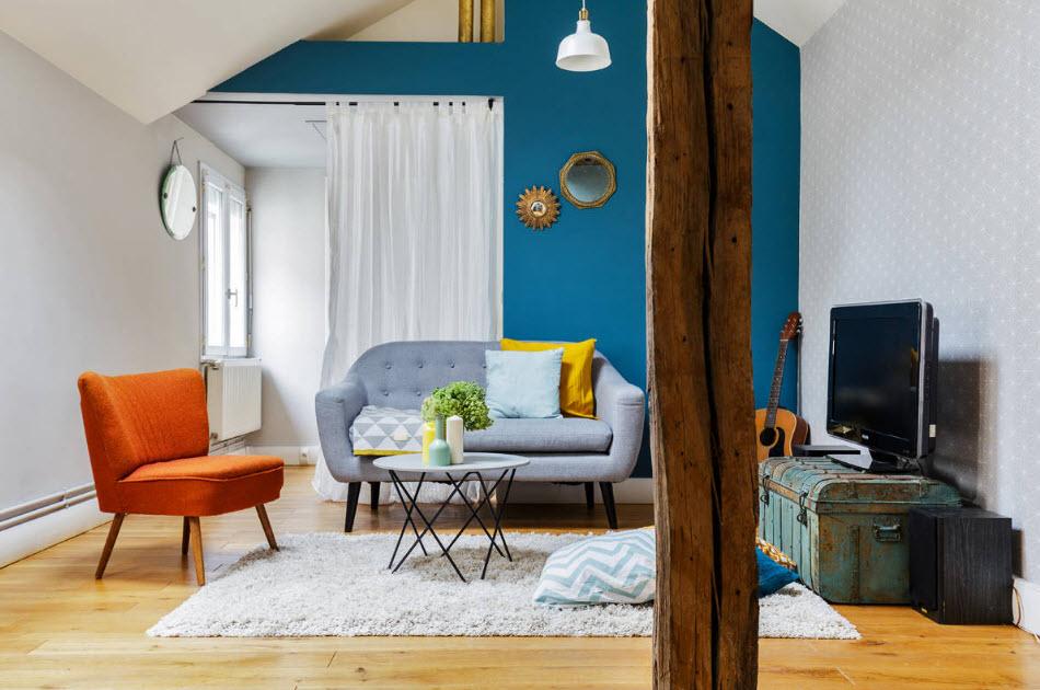 Синий цвет в интерьере - фото