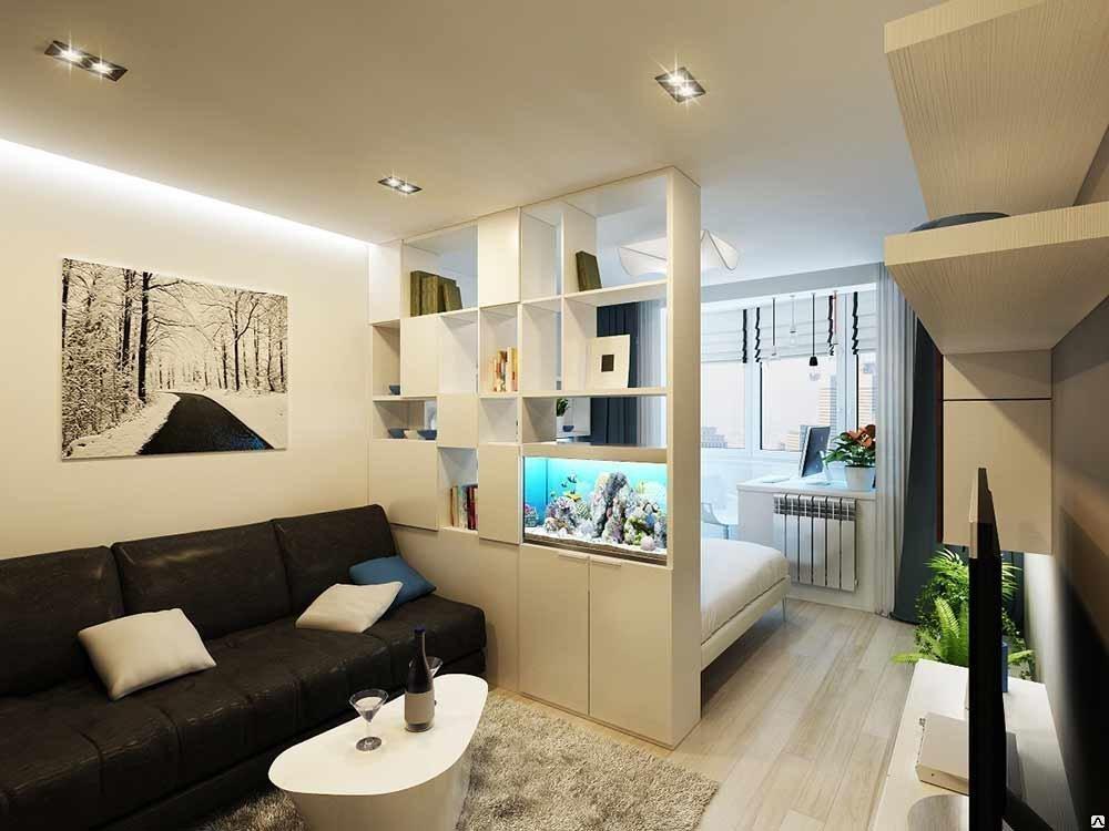 Особливості дизайну вітальні, поєднаної зі спальнею.