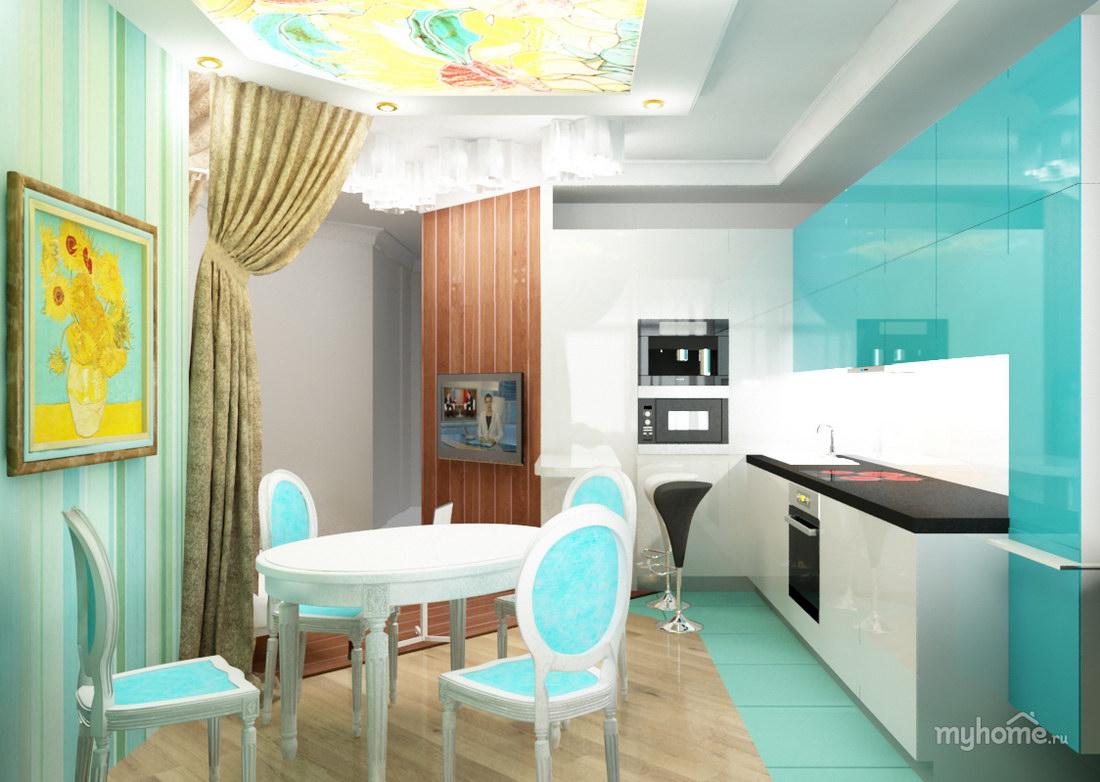 Интерьер кухни фото в бирюзовом цвете фото