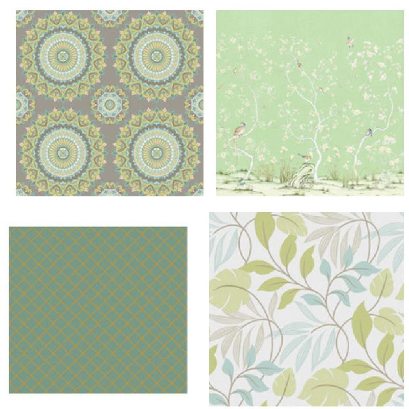 Зеленые обои в спальне какие шторы подойдут