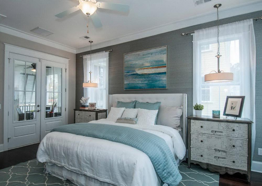Серо голубые обои в спальне интерьер
